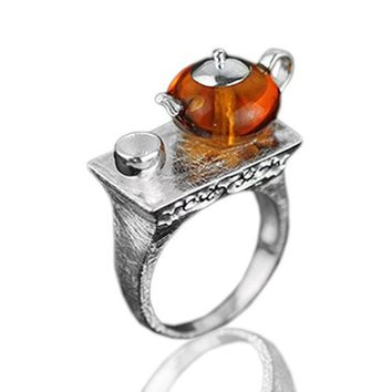 Jardin Teapot Natural Amber Ring