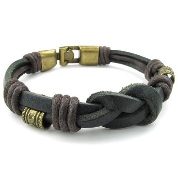 Jewelry Mens Womens Leather Rope Bracelet, Tribal Braided Cuff Bangle, Brown Black Silver