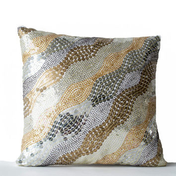 Decorative Throw Pillows -Embroidered White Silk Accent Pillow -Sequin Pillow in Silver Gold -Gift -16X16 -Couch Pillow - Beaded Cushion