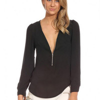 Zip Up V-Neck Long Sleeve Chiffon Blouse