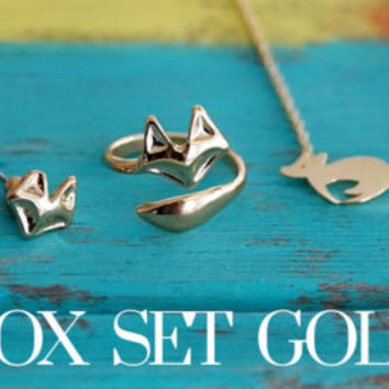Gold dainty tiny jewellery set of 3 - Fox ring, necklace and earrings with gift pouch, perfect christmas gift (SE00001)