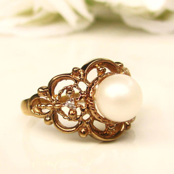 Vintage Pearl Filigree Ring 10K Gold Alternative Engagement Ring June Birthstone Ring Diamond Accent Bridal Jewelry Size 6.5!