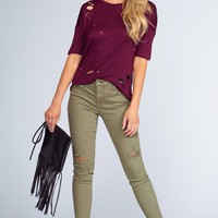Melina Distressed Jeans - Olive