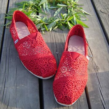 TOMS Natural Crochet Classics Flats Fashion hollow Summer Sexy Loose Shoes red