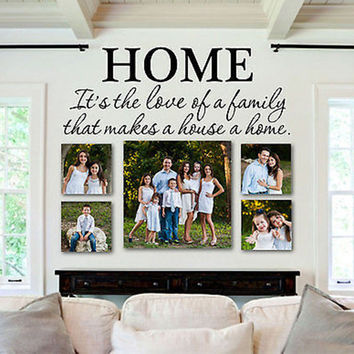 "Love of Family Makes a House a Home Quote Vinyl Wall Decal 28"" Wide by 10"" High"