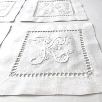 "Italian Linen Embroidered Napkins, Set Of 4 White Cocktail Napkins, Hand Embroidered Initial ""K"", Linen Beverage Coaster Barware, Vintage"