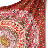 Handmade Fabric Cotton Elephant Mandala Bedspread Tapestry Boho Hippie Wall Hanging Throw Ethnic Bohemian Home Decor