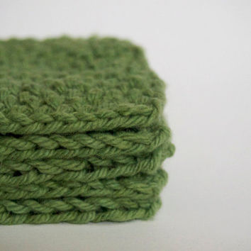 hand knit sage green scrubbies / facial pads set of by bapsicrafts