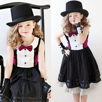 Children's Dresses 2015 Summer Girls Bow Round Neck Short sleeve Mixed Colors Lace Dress.