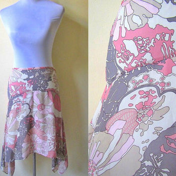 pink and gray asymmetrical skirt (28 inches)
