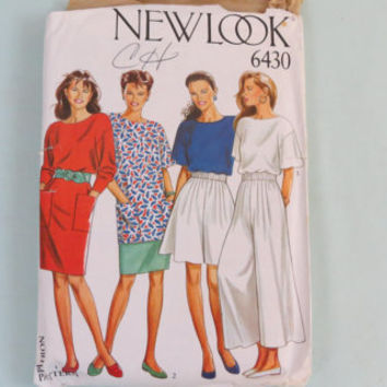 Newlook 80s Shirt T Shirt Shorts Skirt Pants Dress Pattern New Look 6430 Size 8 - 18 sewing pattern