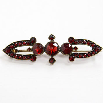 Antique Bohemian Garnet Bar Pin - Victorian Gold Filled Rose Cut Dark Crimson Red Gemstone Jewelry Brooch