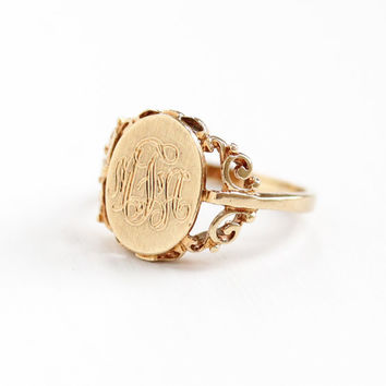 Vintage 10k Rosy Yellow Gold Filigree Signet Ring - Size 5 1/4 Initials MFA Monogrammed Fine Jewelry Hallmarked B&F Baden and Foss
