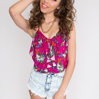 Camille Floral Top - Fuchsia