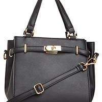 DailyLook: DAILYLOOK Corningstone Vegan Leather Satchel in Black