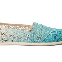 TOMS Baltic Blue Dip-Dyed Crochet Women's Classics Slip-On Shoes,