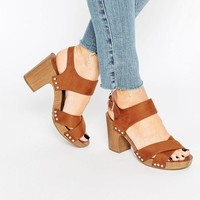 New Look Wide Fit | New Look Wide Fit Wooden Heeled Sandal at ASOS