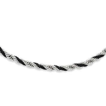 Stainless Steel & Black Tone, 4mm Box & Twisted Rope Necklace