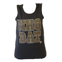 Southern Couture New Orleans Saints Who Dat Aztec Tribal Girlie Bright Tank Top Shirt