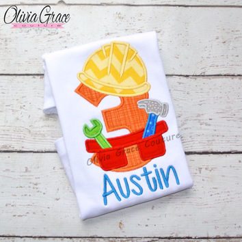 Boys Construction Birthday Shirt, Boys tool birthday shirt Embroidered Applique Shirt or Bodysuit, All ages available