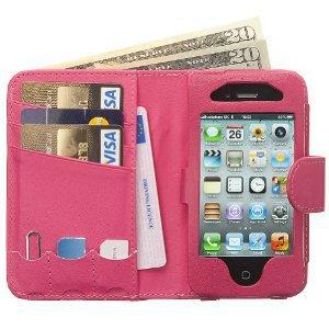 Manhattan Luxury Real Leather Full Wallet iPhone 4 4S Case Card Holder & Strap - Hot Pink