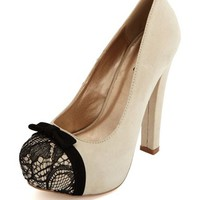 Lace Toe Sueded Pump