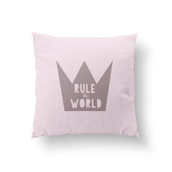 Rule The World Pillow, Girly Pillow, Home Decor, Cushion Cover,Throw Pillow, Bedroom Decor, Bed Pillow, Decorative Pillow,Nursery Decor