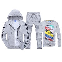 Adidas Fashion Casual Hooded Cardigan Jacket Coat Top Sweater Pants Trousers Set Three-Piece