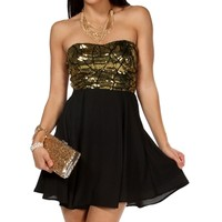 Black/Copper Sweetheart Sequin Tunic