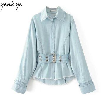 Fashion Women Vintage Denim Blouse Shirt Light Blue Autumn Long Sleeve Turn down Collar Drawstring Waist Slim Casual shirt