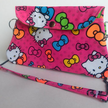 Hello Kitty Purse / Hot Pink Clutch with Chain Strap / Bows / Polka Dots / Neon / Hello Kitty Bag / Pop Up Shop