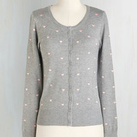 ModCloth Mid-length Long Sleeve Do it the Heart Way Cardigan