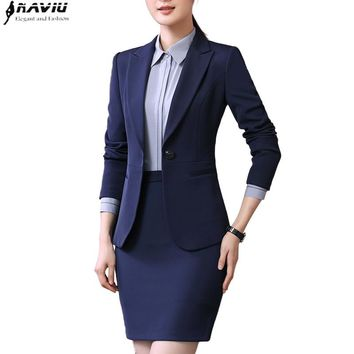 Spring new business wear women skirt suits temperament slim long sleeve blazer with skirt office ladies plus size uniforms