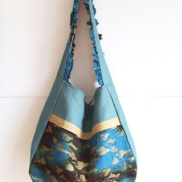 Boho bag, Slouch bag, Line and lace bag, Hobo bag, shoulder bag, romantic blue tote, teal