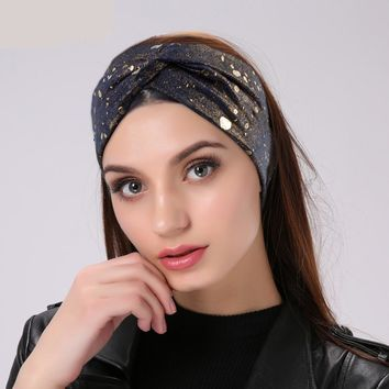 Metallic Color Cross Knotted Ladies Headbands For Women Head Wrap