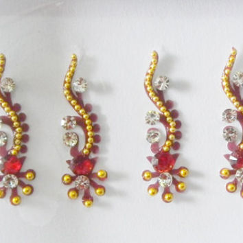 2 Different Pack of  Maroon golden party bindi,Long tikka headpiece,Designer dancing Curved bindi,Crystal bindi,Stick on body jewels,Bindis