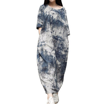 Casual Dress 2015 Spring Summer Dress Women Blue White Ink Robe Vintage Print Long Loose Cotton Linen Dress Maxi Dress 0145
