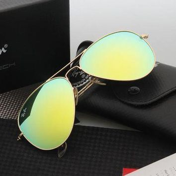 CREYGE2 Beauty Ticks Ray Ban Aviator Sunglasses Gold Frame Grass Green Flash Lens Rb3025 Sunglasses