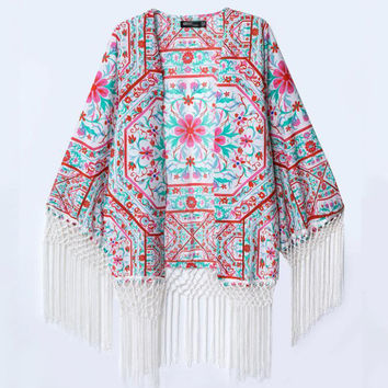 Multi Color Floral Print Fringed Cardigan
