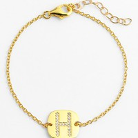 Women's Lola James Jewelry Pave Initial Charm Bracelet - Gold