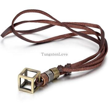 New Genuine Leather Necklace Punk Vintage Jewelry Cube Box Pendant Necklace for men collares hombres 80cm long Chain adjustable