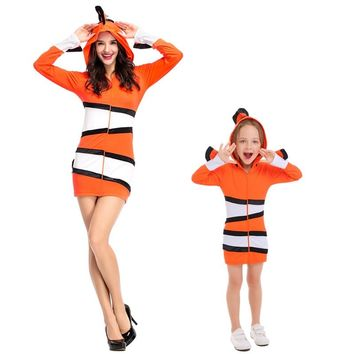 Mother and Child Clown Fish Dress Costumes Cosplay For Woman And Girls Sea Theme Party Halloween Masquerade Stage Costume