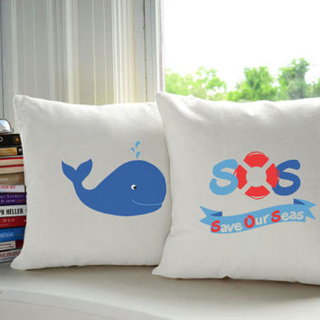 Set of 2 SOS Whale Cotton Throw Pillows - Pillow Covers and or Cushions, 14x14 or 16x16, White or Natural - Kiids Cushions, Save the Whales