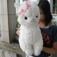 "17"" Arpakasso Alpacasso Alpaca Plush Toy Lovely Girl  Bright white Free shipping"