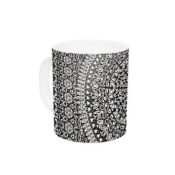"Nika Martinez ""Mandala Bandana"" Black Abstract Ceramic Coffee Mug"