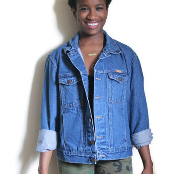 Jean Jacket Large Classic 80s Brand Rustler Medium Wash Denim Unisex Women's Large Men's Small