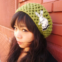 Avocado Slouchy Hat with Cream Bunny