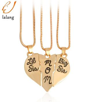 "3pcs/set Lettering Necklace""Little Sis MOM Big Sis"" Love Heart Pendant Mother Daughters Children Birthday Family Special Gift"