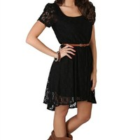 Lace Dress with Cocoon Sleeves, High Low Hem and Belted Waist