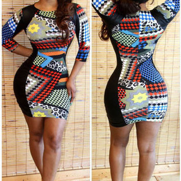 Faux Leather Accent Printed Half Sleeve Mini Bodycon Dress